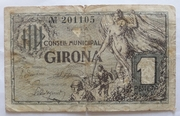 1 Peseta Girona – obverse