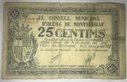 25 Céntimos D' Olesa de Montserrat – obverse