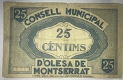 25 Céntimos D' Olesa de Montserrat – reverse