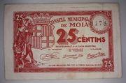 25 centimos Moià – obverse