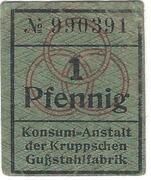 1 Pfennig (Konsum-Anstalt der Kruppschen Gußstahlfabrik) – obverse
