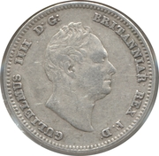 ¼ Guilder - William IV – obverse