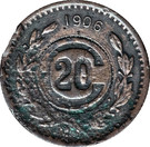 20 Centavos (Toluca - Countermarked) – reverse