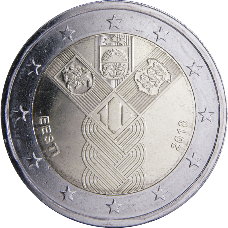 Latvian Currency coin set 2018 Year 100th anniversary of the Baltic States 2018