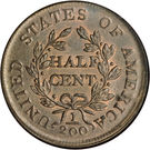 "½ Cent ""Draped Bust - Half Cent"" – reverse"