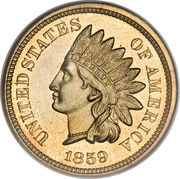 "1 Cent ""Indian Head Cent"" (without shield) – obverse"