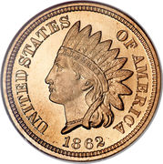 """1 Cent """"Indian Head Cent"""" (with shield) -  obverse"""