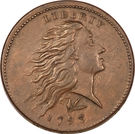 "1 Cent ""Flowing Hair Cent"" (Wreath reverse) – obverse"