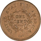 "1 Cent ""Flowing Hair Cent"" (Wreath reverse) – reverse"