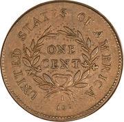 "1 Cent ""Flowing Hair Cent"" (Wreath reverse) – reverse"