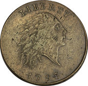 """1 Cent """"Flowing Hair Cent"""" (Chain reverse) – obverse"""