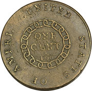 "1 Cent ""Flowing Hair Cent"" (Chain reverse) – reverse"