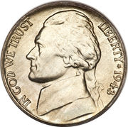 """5 Cents """"Jefferson Wartime Nickel"""" (1st portrait) -  obverse"""