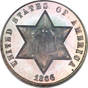 3 Cents (type 3 - one line bordering star) -  obverse