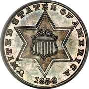 3 Cents (type 2 - two lines bordering star) -  obverse