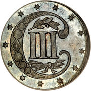 3 Cents (type 2 - two lines bordering star) -  reverse