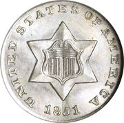 3 Cents (type 1 - no lines bordering star) – obverse