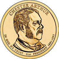 2012-D GROVER CLEVELAND 1st TERM GOLDEN PRESIDENTIAL DOLLAR from Mint Roll UNC