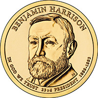 Benjamin Harrison One Dollar Presidential Coin 2012 D