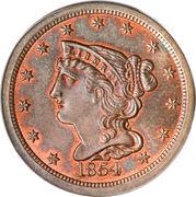 """½ Cent """"Braided Hair - Half Cent"""" -  obverse"""