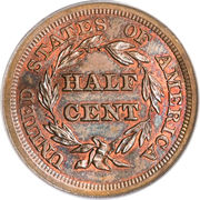 "½ Cent ""Braided Hair - Half Cent"" -  reverse"