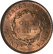 "1 Cent ""Liberty Head / Matron Head"" (Type 1) – reverse"