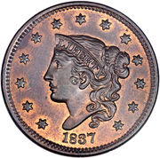 "1 Cent ""Liberty Head / Matron Head Modified"" (Type 2 Young Head) – obverse"