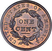 "1 Cent ""Liberty Head / Matron Head Modified"" (Type 2 Young Head) – reverse"