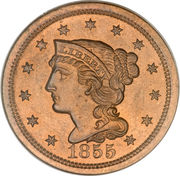 """1 Cent """"Liberty Head/Braided Hair Cent"""" -  obverse"""