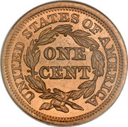 "1 Cent ""Liberty Head/Braided Hair Cent"" – reverse"