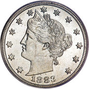 """5 Cents """"Liberty Nickel"""" (without """"CENTS"""") -  obverse"""