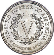 """5 Cents """"Liberty Nickel"""" (without """"CENTS"""") -  reverse"""