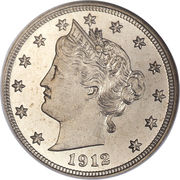"5 Cents ""Liberty Nickel"" (with ""CENTS"") -  obverse"