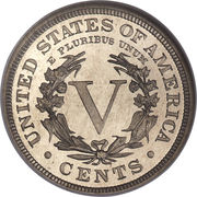 """5 Cents """"Liberty Nickel"""" (with """"CENTS"""") -  obverse"""