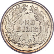 "1 Dime ""Seated Liberty Dime"" (w/o stars, date arrows removed) -  reverse"