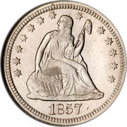 """¼ Dollar """"Seated Liberty Quarter"""" (without motto) -  obverse"""