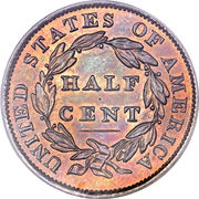 "½ Cent ""Classic Head Half Cent"" – reverse"