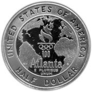 ½ Dollar (Atlanta Olympics - Basketball) -  reverse