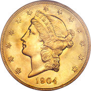 "20 Dollars ""Liberty Head - Double Eagle"" (with motto ""TWENTY DOLLARS"") -  obverse"