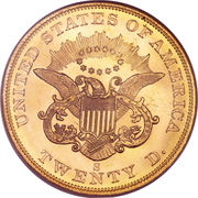 "20 Dollars ""Liberty Head - Double Eagle"" (without motto ""TWENTY D."") -  reverse"