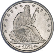 """½ Dollar  """"Seated Liberty Half Dollar"""" (with date arrows -  obverse"""