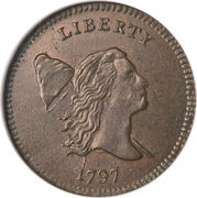"½ Cent ""1/200 Dollar Liberty Cap, Head Facing Right,  Half Cent"" – obverse"