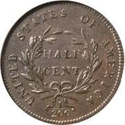 "½ Cent ""1/200 Dollar Liberty Cap, Head Facing Right,  Half Cent"" – reverse"