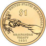 "1 Dollar ""Native American Dollar"" (Wampanoag Treaty) -  reverse"