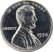 """1 Cent """"1974 Lincoln Memorial"""" (Pattern) – obverse"""