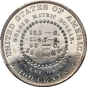 "1 Dollar ""1880 Goloid Metric Dollar"" (Pattern) -  reverse"