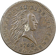"""1 Cent """"1792 Silver Center and Copper"""" (Pattern) – obverse"""