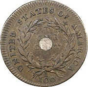 """1 Cent """"1792 Silver Center and Copper"""" (Pattern) – reverse"""