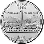 "¼ Dollar ""Washington Quarter"" (Utah) -  reverse"