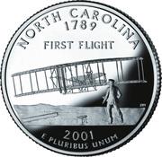 "¼ Dollar ""Washington Quarter"" (North Carolina - Silver Proof) – reverse"